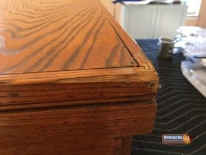 Damaged Antique Oak Chest Before Refinishing