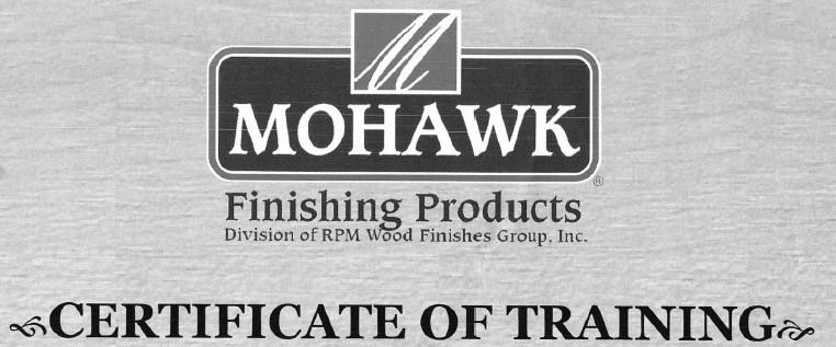 Proudly Trained by Mohawk Finishing