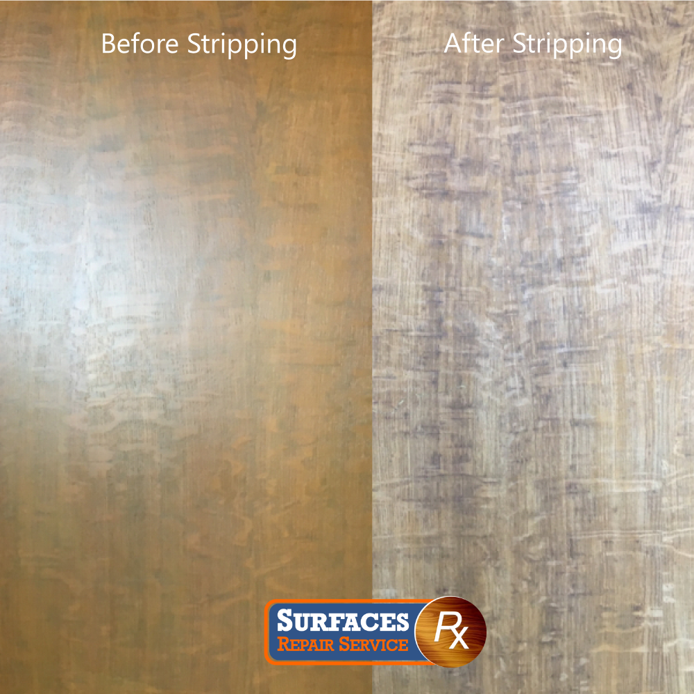 Quarter-Sawn Wood Panel Refinishing Before and After Stripping by wood panel refinishing professional