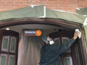 Front Door Final Sanding before Topcoat Highland Park Texas