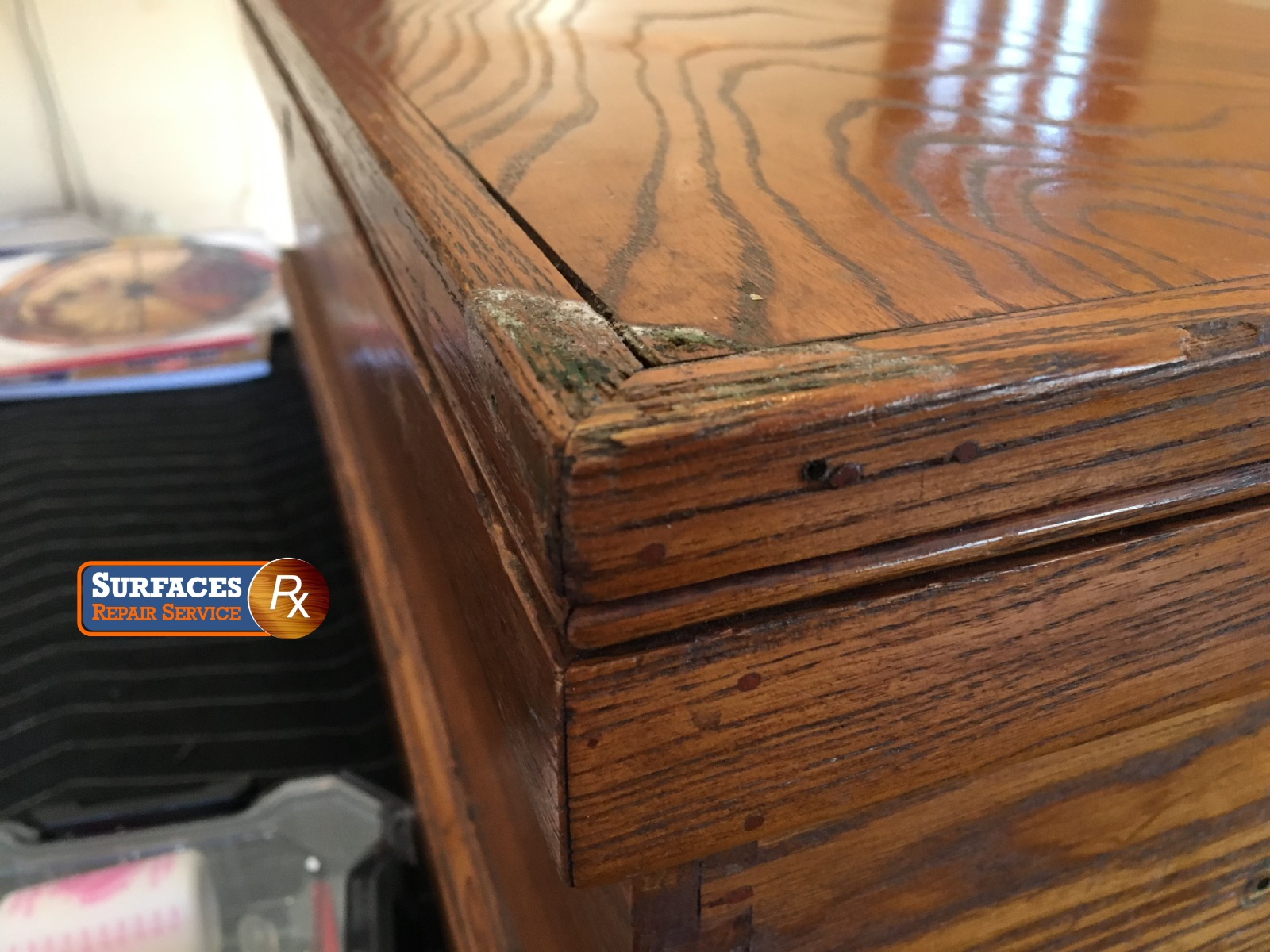 Antique Oak Chest Before Surfaces Rx Refinishing