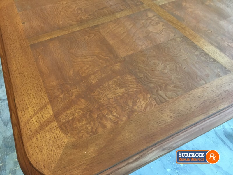 Damaged Dallas Dining Room Table Top Before Surfaces Rx Refinishing