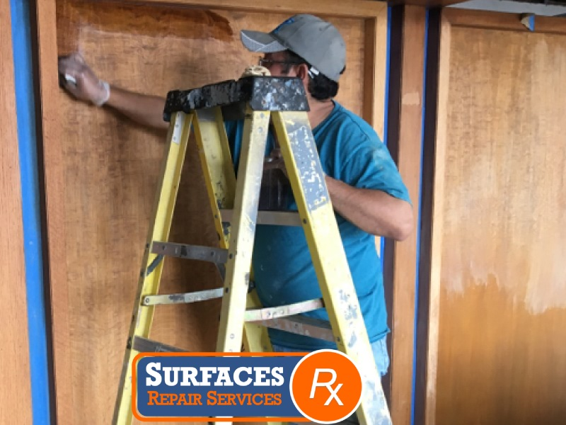 Surfaces Rx Applying Stain During Millwork Refinishing
