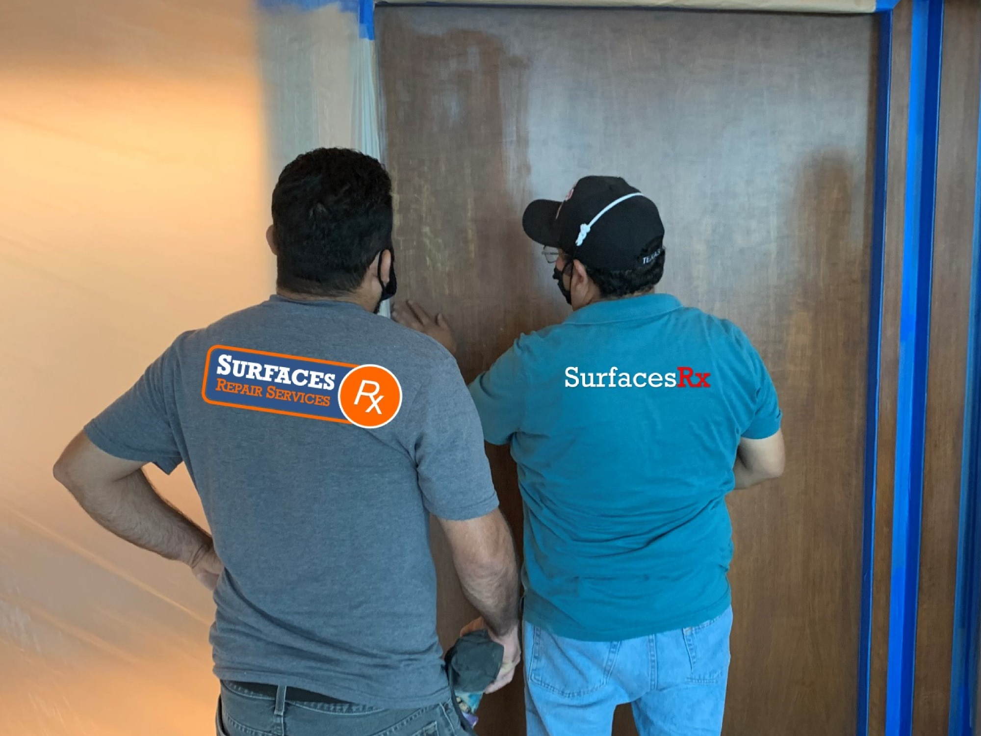 Surfaces Rx Applying Another Coat of Finish to wood Millwork in Dallas TX Home