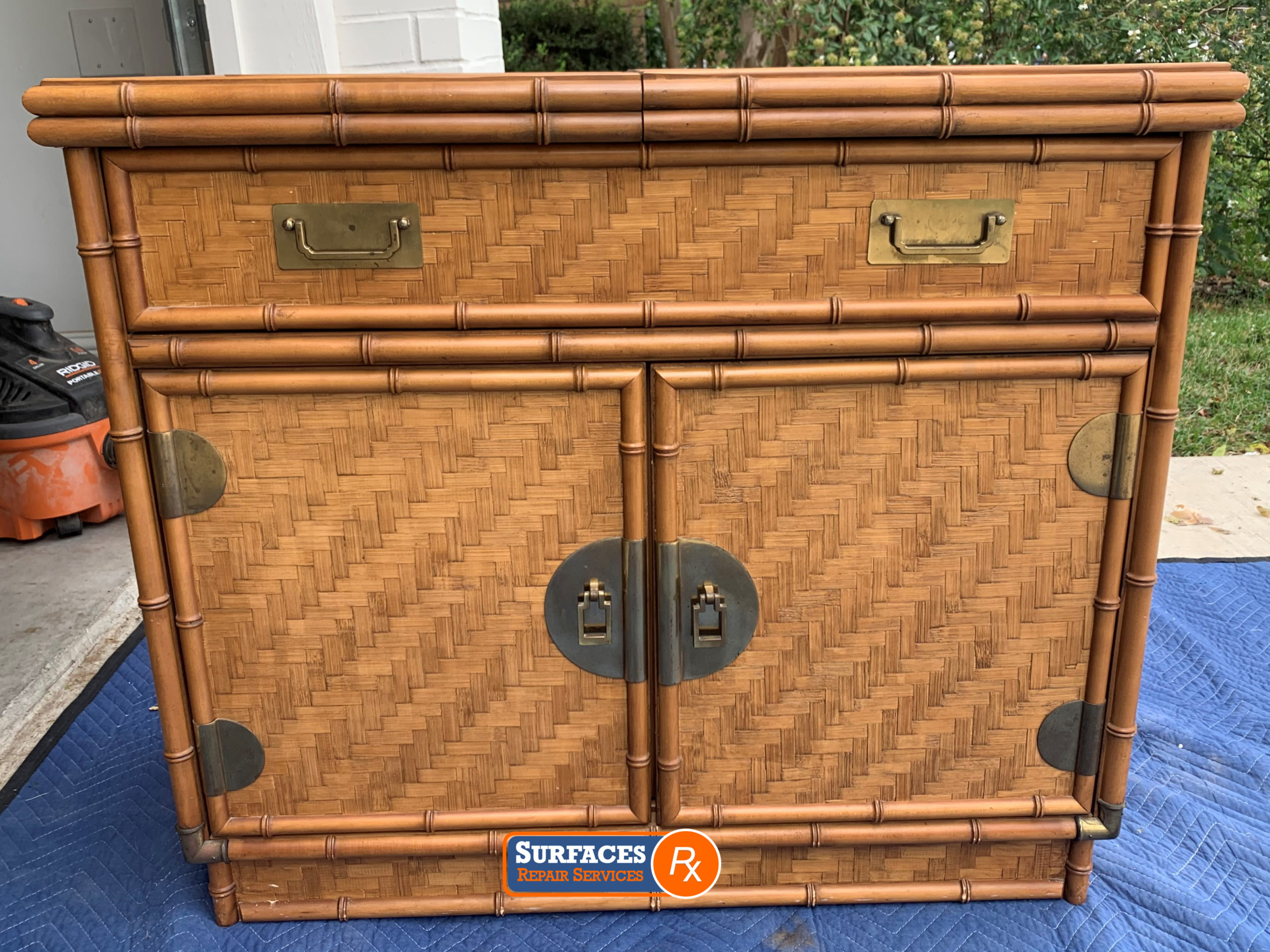 Antique Rattan Chest Before Surfaces Rx Refinishing with Paint