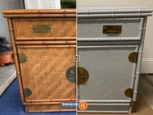Before and After Rattan Chest Refinishing by Surfaces Rx Dallas TX