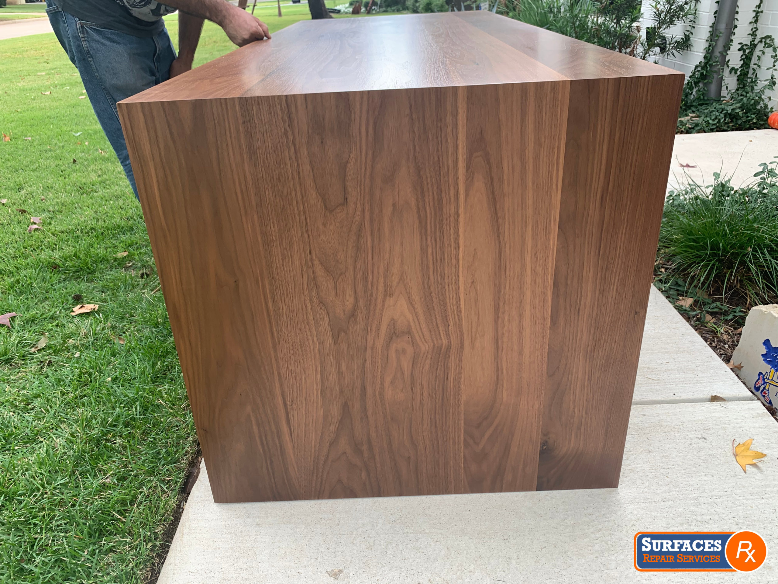After Surfaces Rx Refinished New Walnut Desk in NE Dallas