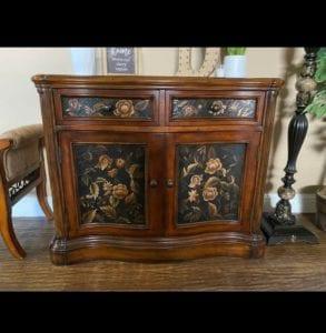 2-Door Wood Cabinet Before Custom Hand-Painted Redesign