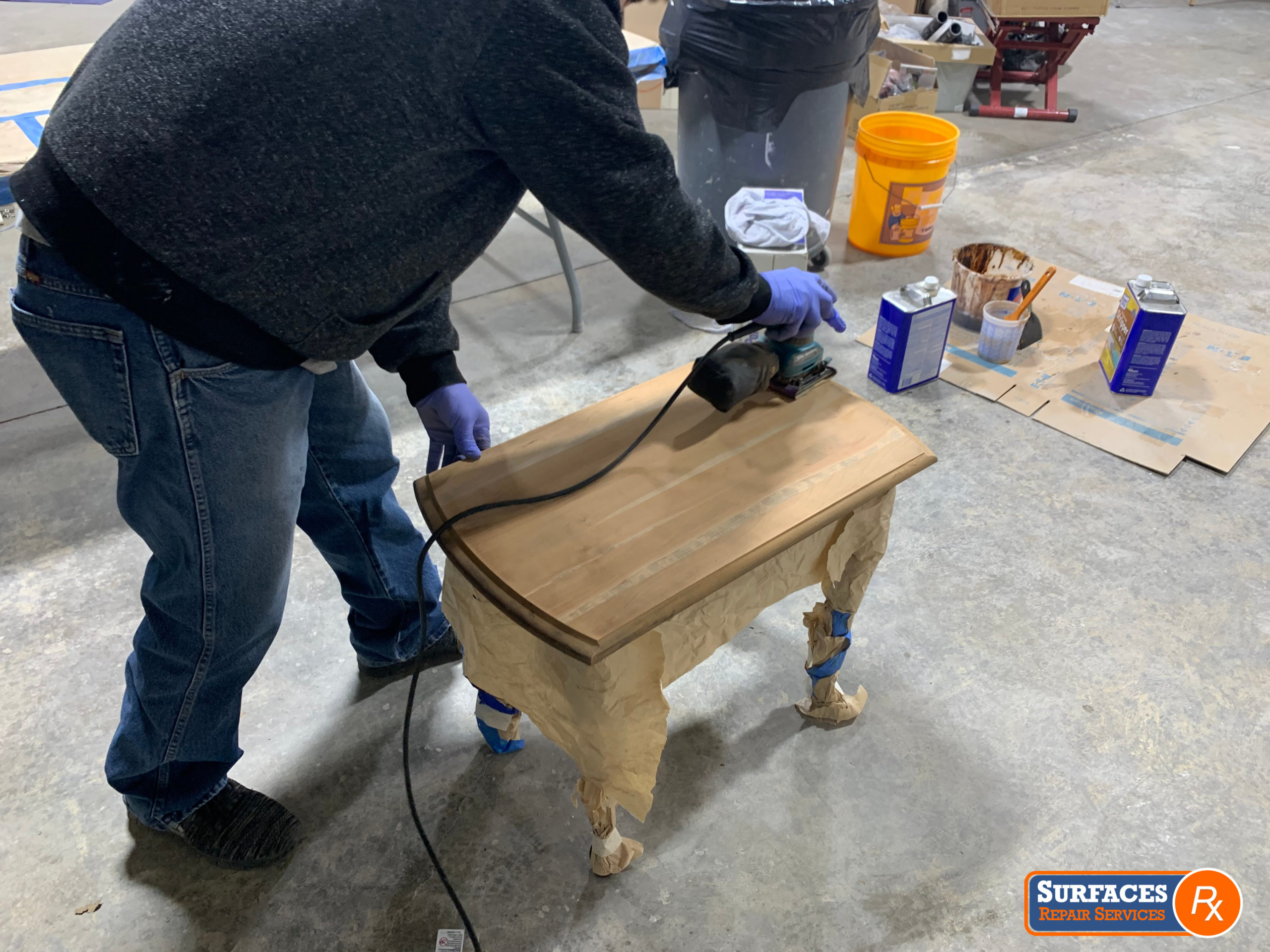 Surfaces Rx Sanding Drop-Leaf Cherry Table Dallas Texas