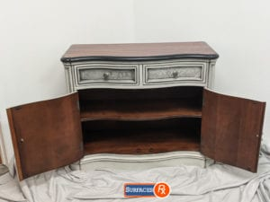 Crackle Accent Cabinet For Sale , Black Edging, Refinished Wood Top