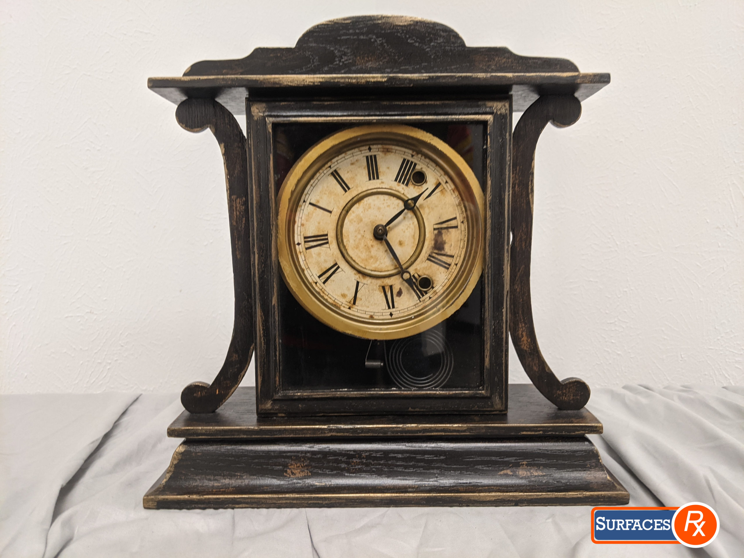 Faux Finished Vintage Mantle Clock For Sale by Surfaces Rx, Dallas TX