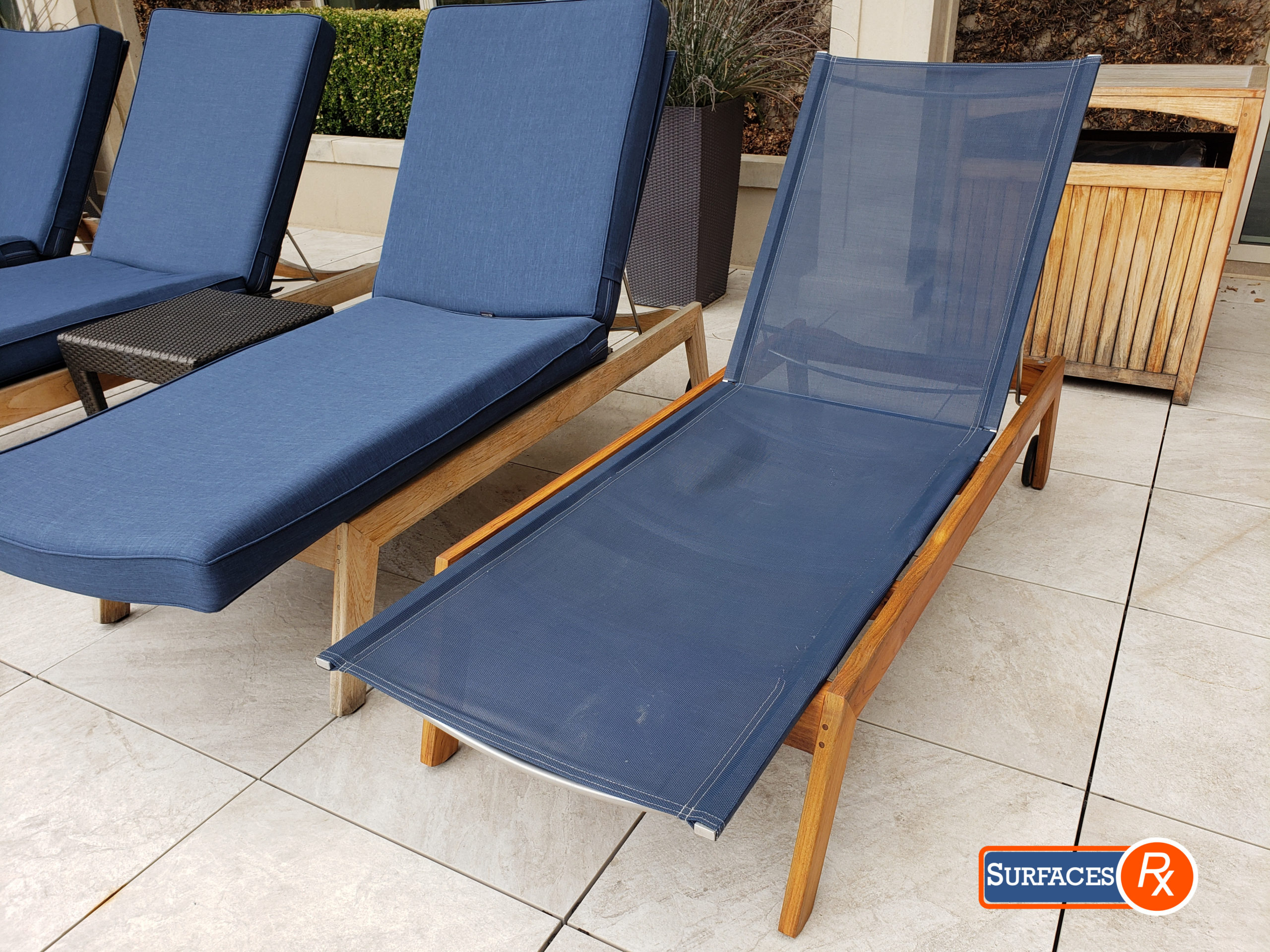 Before and After Teak Furniture Refinishing by Surfaces Rx Dallas Texas