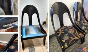 Before During After Damaged Chair Repair Dallas Texas by Surfaces Rx