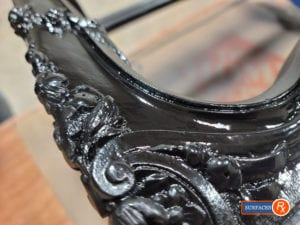 Hand-Painted Wood Scrollwork on Vintage Knabe Piano Bench