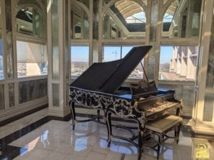 Wm Knabe & Co Louis XV Style Grand Piano Before Refinishing by Surfaces Rx Dallas TX Side View
