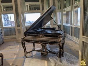 Wm Knabe & Co Louis XV Style Grand Piano Before Refinishing by Surfaces Rx Dallas TX Back View