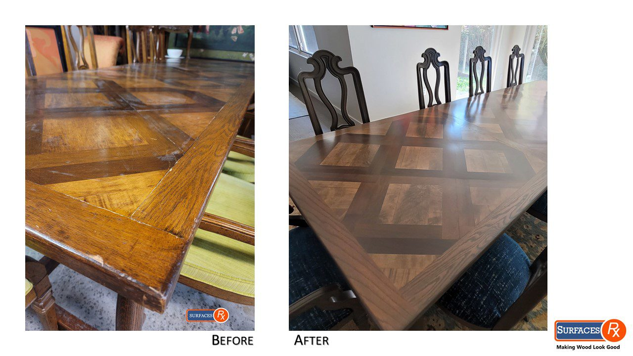 French Parquetry Solid Wood Dining Room Table & Chairs
