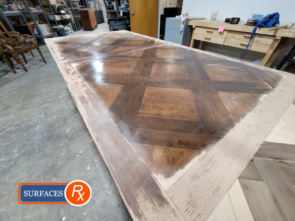 Parquetry Antique Dining Room Table During Sanding