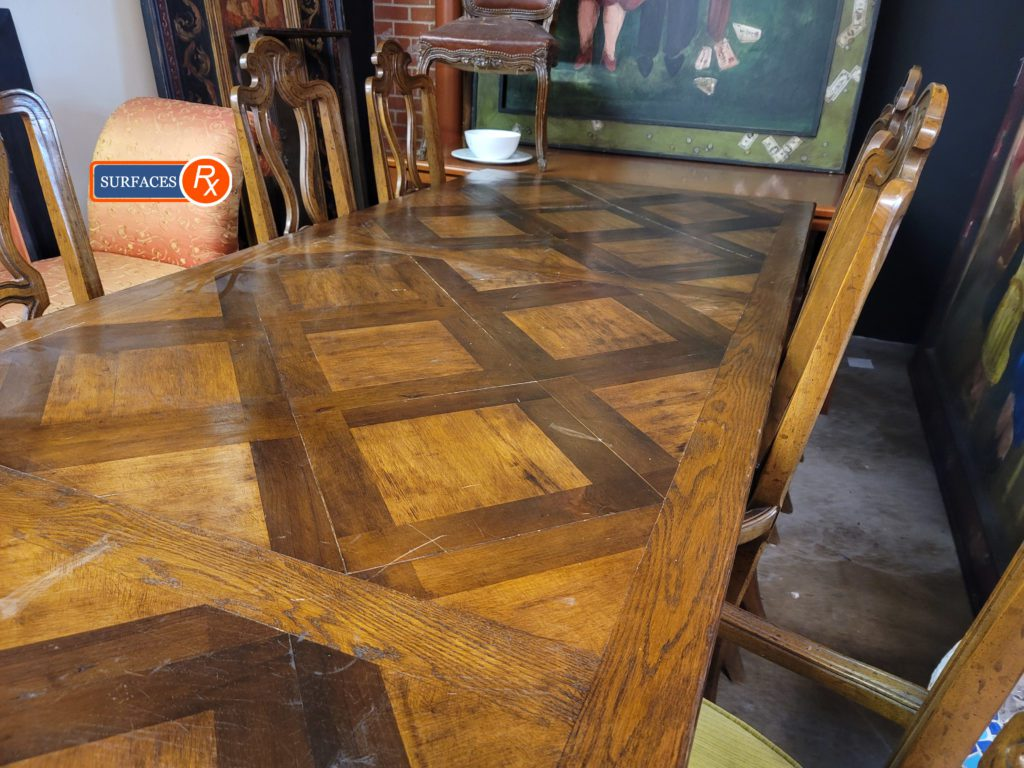 Parquetry Antique Dining Room Table Before Refinishing by Surfaces Rx