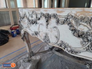 Wm Knabe & Co Louis XV Style Grand Piano During Refinishing by Surfaces Rx Dallas TX Side View